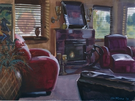 Paul's interior living room, painting by Steve Rude, 2012